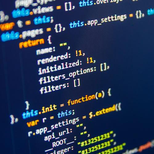 An image of website source code