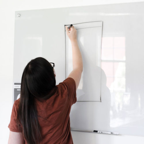 Women writing on a whiteboard