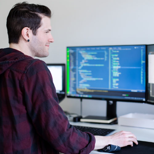 Developer working at their computer